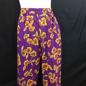 Vintage Pants - Purple & Mustard Floral High Waisted Pants